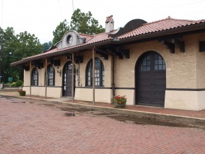 The remodeled train depot at Philippi, WV, home to the mummies.